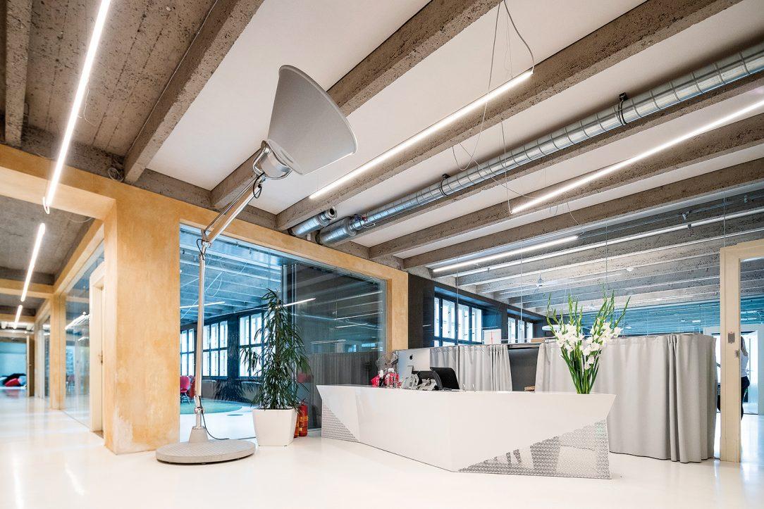 Ve všech kancelářských prostorech se nachází obnažené betonové plochy nosných prvků