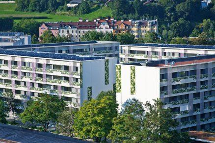 Větší budovy jako školy, školky, kancelářské budovy nebo dokonce celá sídliště jsou pro pasivní standard svým tvarem jako stvořené. Pěknou ukázkou je pasivní mateřská škola v Praze-Slivenci (Architekt: ABatelier, foto: CPD) a ve své době největší pasivní sídliště stojící v Insbrucku (Architekt a foto: Architektur DIN A4).