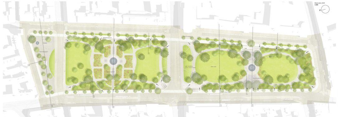 Citlivá obnova parku v centru města bude doplněna o promenádu kavárnu hřiště a trhy