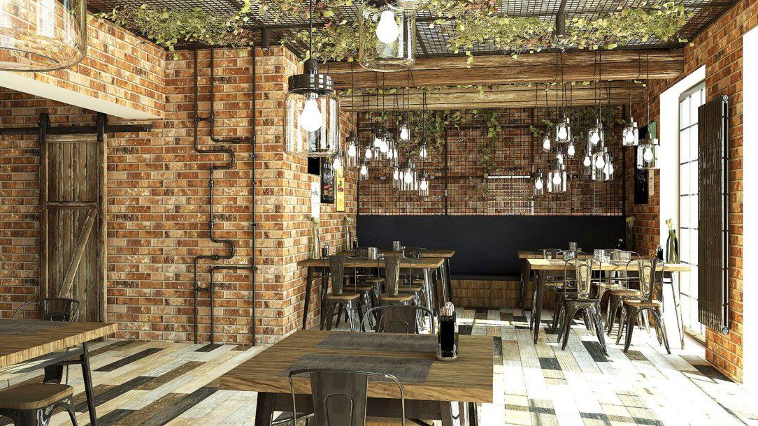 Interiér restaurace svislé provedení Zehnder Charleston v laku Technoline