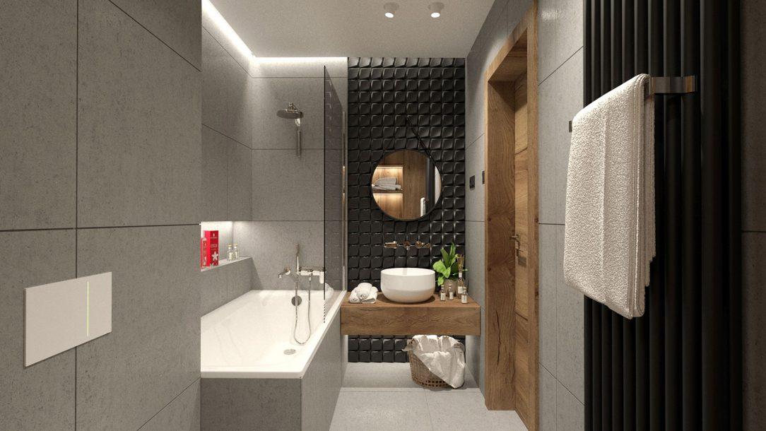 Koupelna svislé provedení Zehnder Charleston v barvě Black Matt