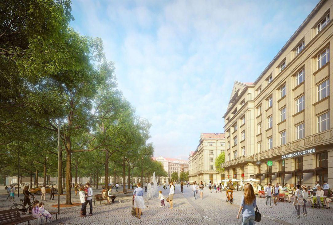 Návrh mění Vítězné náměstí na zelenější a přívětivější místo