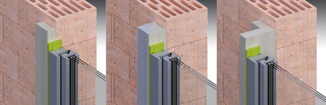 Okna vyložená do fasády pomocí profilů různé šíře od 35 mm až po 200 mm