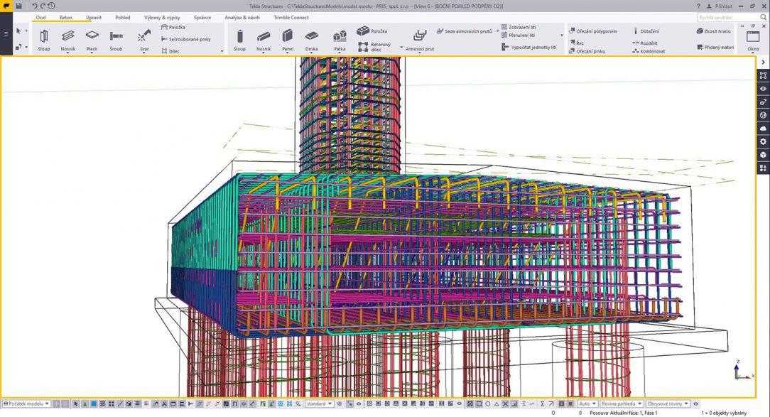 Příklad vyztužování pomocí komponent doplněný o ruční modelování v Tekla Structures