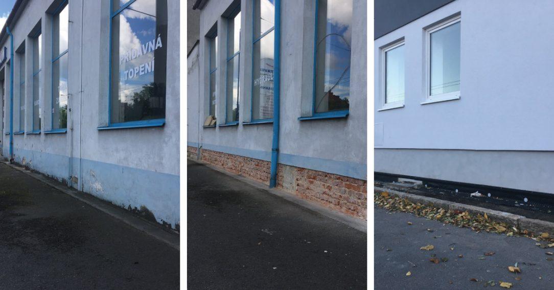 Použití IZONIL omítky na renovaci soklové části zdi