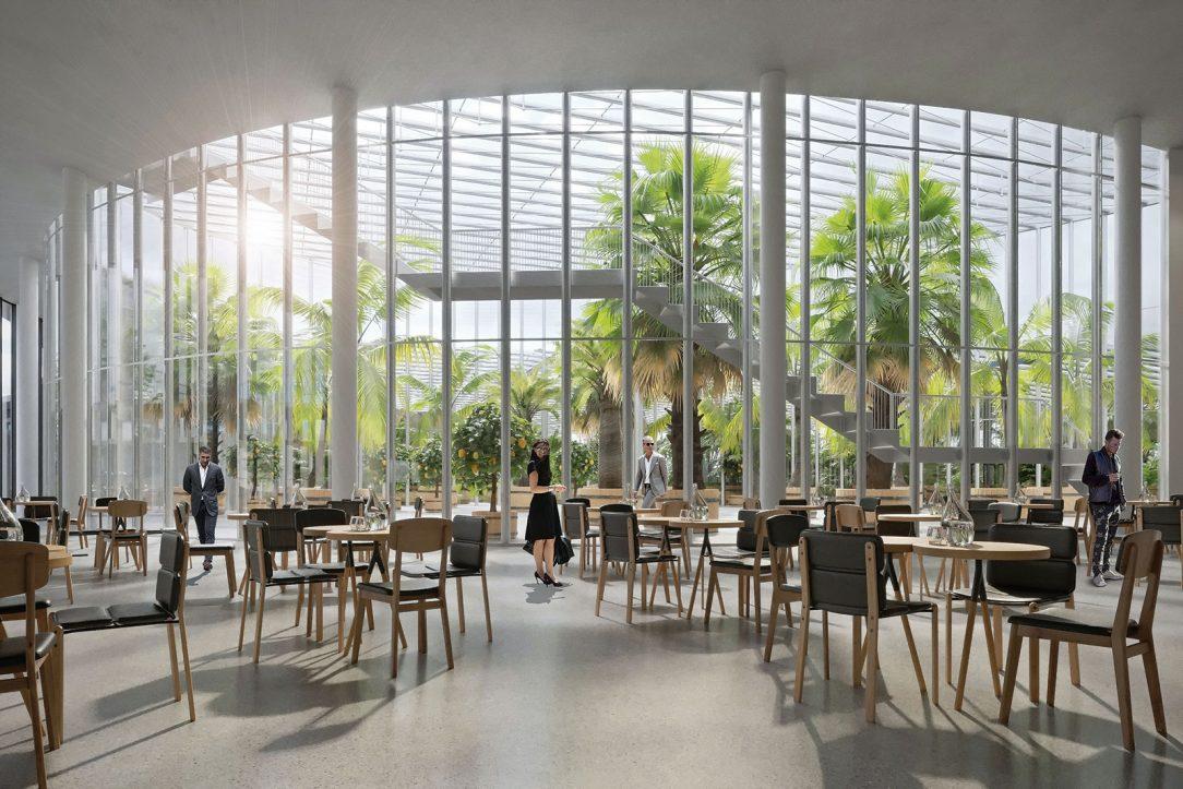 Restaurace je vizuálně propojena s vysokým skleníkem