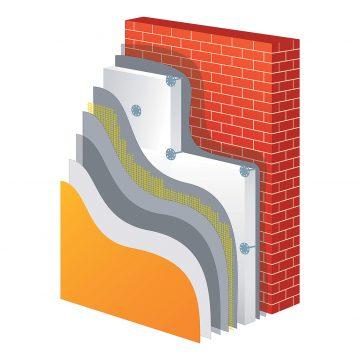 Schéma zateplení polystyrenemnstalace polystyrenu na fasádu