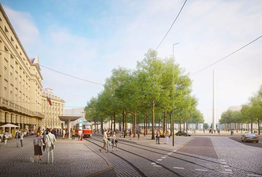 Výrazným prvkem návrhu je také centrální monument který byl i v původních plánech Antonína Engela ve středu náměstí v podobě obelisku