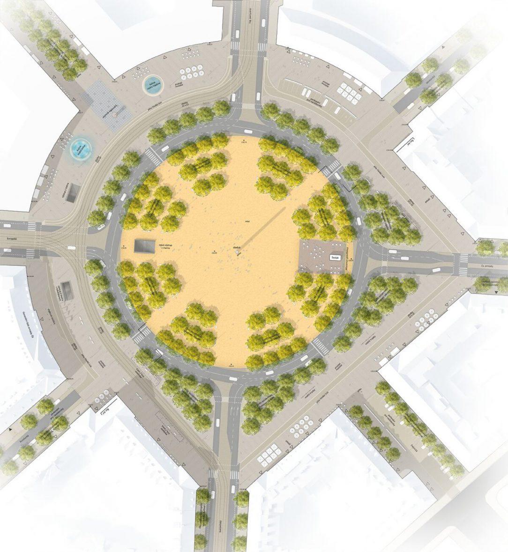 V návrhu tramvajová trať již neprotíná náměstí ale střed nově objíždí po jeho západní straně