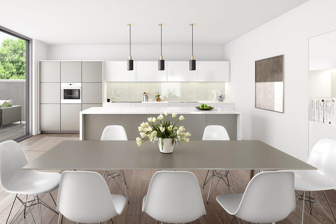 Obklad stěny za kuchyňskou linkou skleněný stůl v matném provedení Matelac T Moka a Lacobel T White Oyster