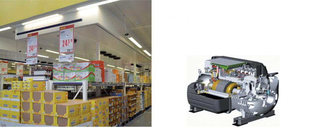 Obr. 6 Chladicí stropy a použité kompresory
