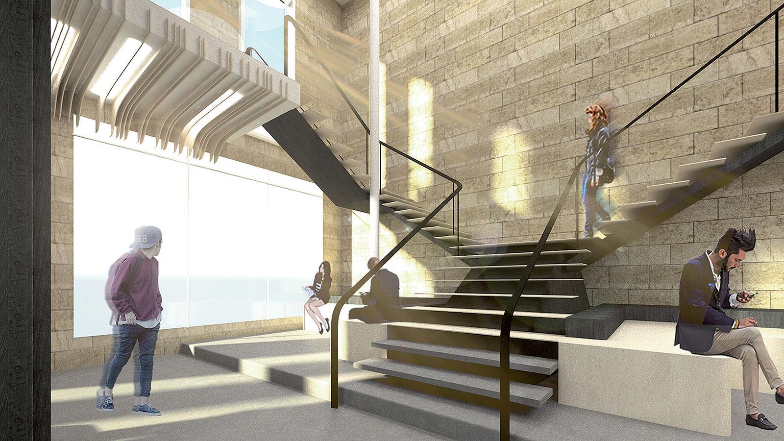 Subtilní schodiště motivuje návštěvníky aby prozkoumali prostor ve druhém podlaží