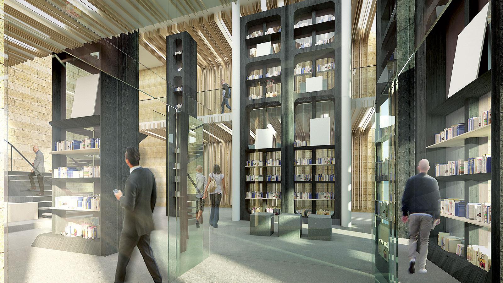 Tenké dřevěné lamely skrývají svítidla a připomínají stránky knih