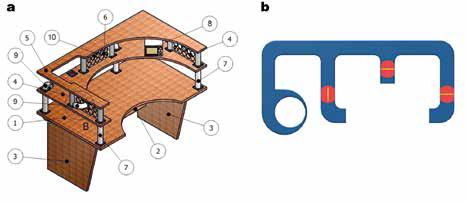 Obr. 5 Pracovní stůl sintegrovaným personalizovaným větráním a) prvky, b) uspořádání vzduchových kanálů (připojení khlavnímu větracímu systému) [19] 1 – pracovní stůl, 2 – police, 3 – stolové nohy, 4 – střední police, 5 – horní police, 6 – vertikální mřížka, 7 – podpora, 8 – ovládací panel, 9 – koleno, 10 – koncový distribuční prvek