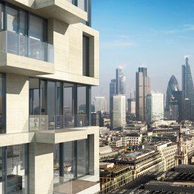 Schüco UDC 80 V kombinaci s balkony vytvářejí vložené mechatronicky ovládané výborně těsnicí posuvné dveře ASE 80 TC funkční design výškových rezidenčních budov.