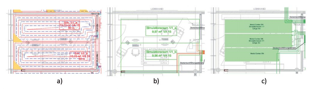 Obr. 1 a Podlahové vytápění b tepelná aktivace betonového jádra c stropní sálavé vytápění v referenční kanceláři.