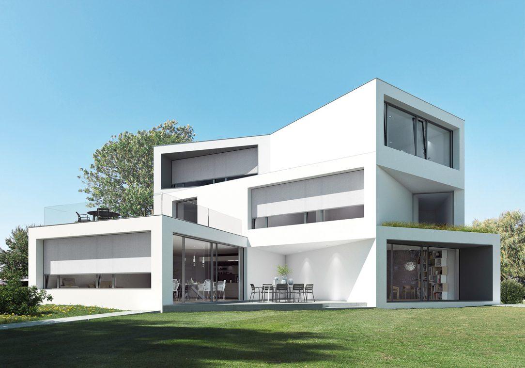 V bytech i rezidenčních domech jsou zachovány úžasné výhledy i při zatažení textilních screenových rolet Schüco ZIP Design Screen.