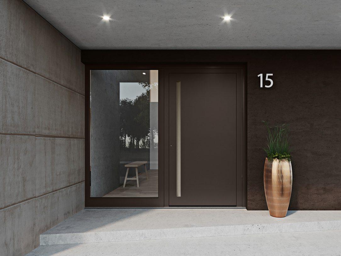 heroal nabízí poprvé vchodové dveře včetně výplně – s dveřním systémem heroal D 72 a ve spojení s vysoce kvalitními barevnými odstíny Les Couleurs® Le Corbusier. Foto: heroal