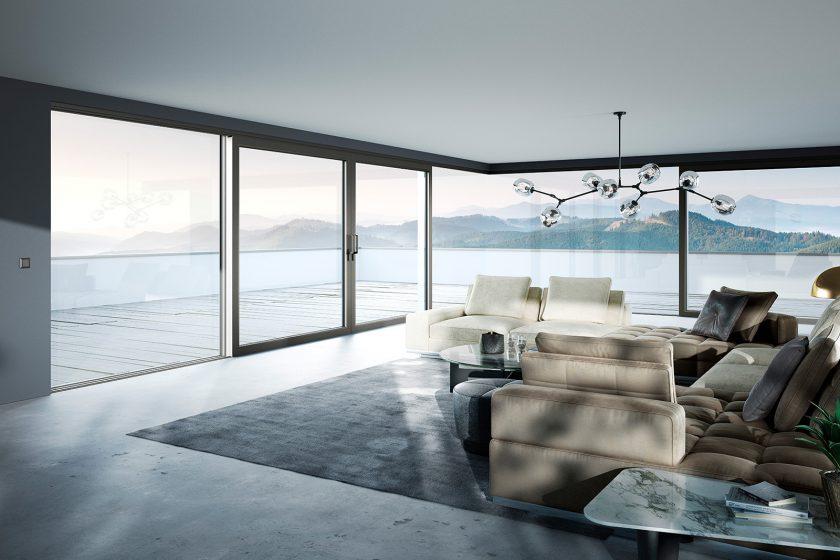 Celoskleněné rohové řešení zdvižně-posuvného systému heroal S 77 SL v barevných odstínech Les Couleurs® Le Corbusier splní beze zbytku Váš požadavek na větší míru průhlednosti a vytvoří architektonické akcenty. Foto: heroal