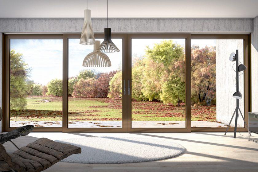 Nový posuvně-zdvižný systém Schüco LivIngSlide propojí interiér s domu s venkovní terasou.