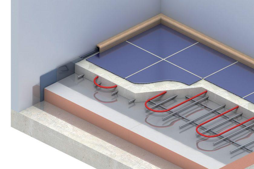 Příklad skladby podlahy s podlahovým vytápěním a s izolační podlahovou deskou Kingspan Kooltherm® K3