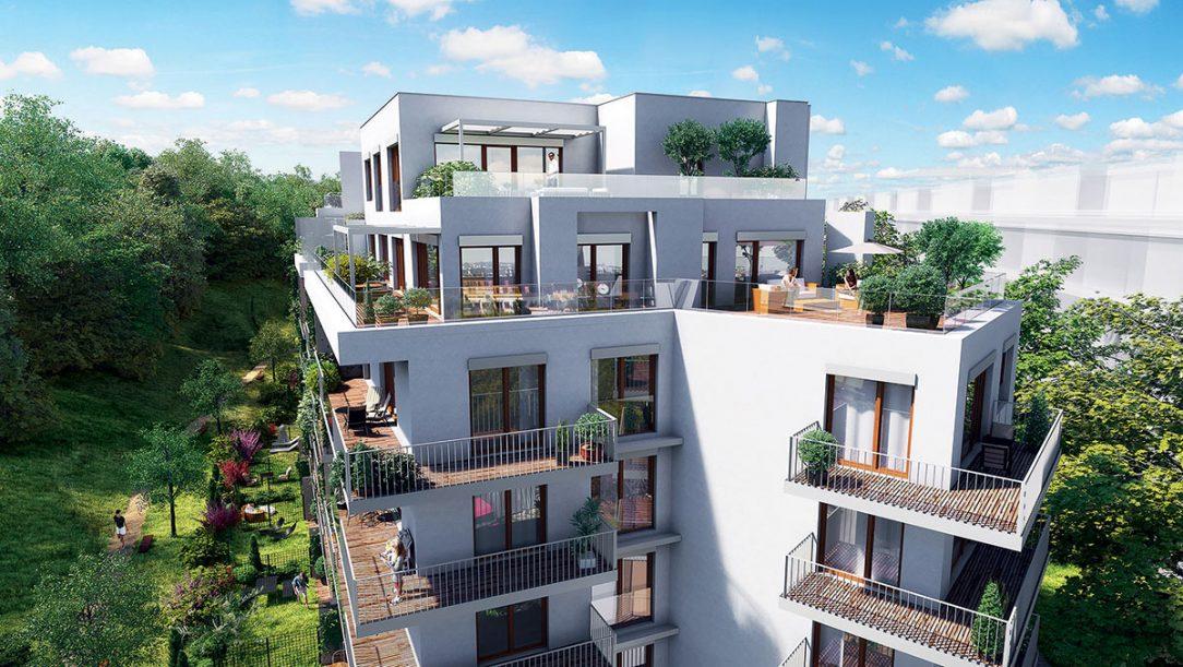 Střešní byty s prostornými terasami