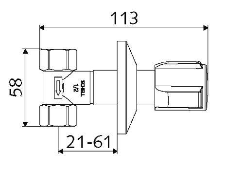 Podomítkový regulační ventil SCHELL schéma