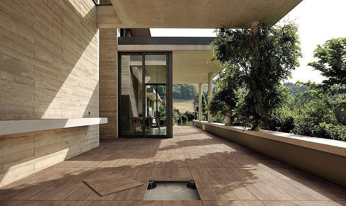 Dlažba Outdoor wood na terase pokládka na terče