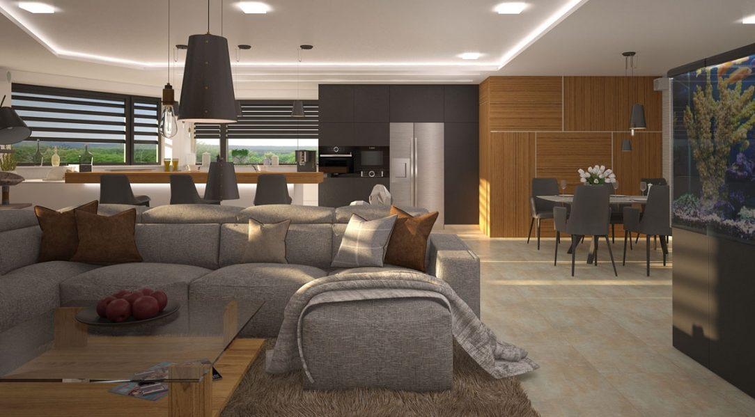 Návrh interiéru obývací pokoj kuchyně jídelna DEHO