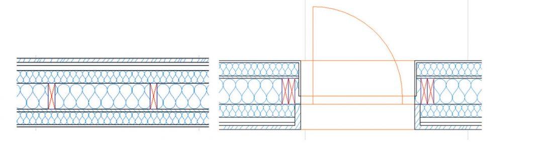 Obr. 3 Typická skladba stěny zkušebního objektu a stavební otvor který byl použit na testování MLI.