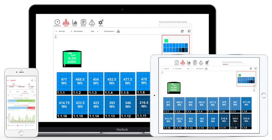 Snímek obrazovky ze systému SolarEdge jedné z možných aplikací.