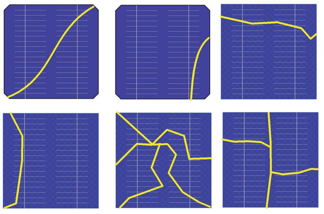 Obr. 1 Praskliny v různých typech křemíkových PV článků monokrystal zkosené rohy čtverec multikrystalický článek
