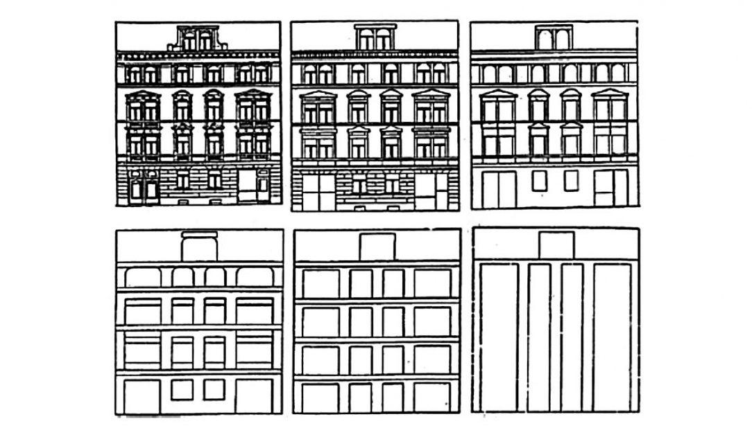 rovně potenciální redukce informací na fasádě typického městského domu a ztráta fraktální struktury.