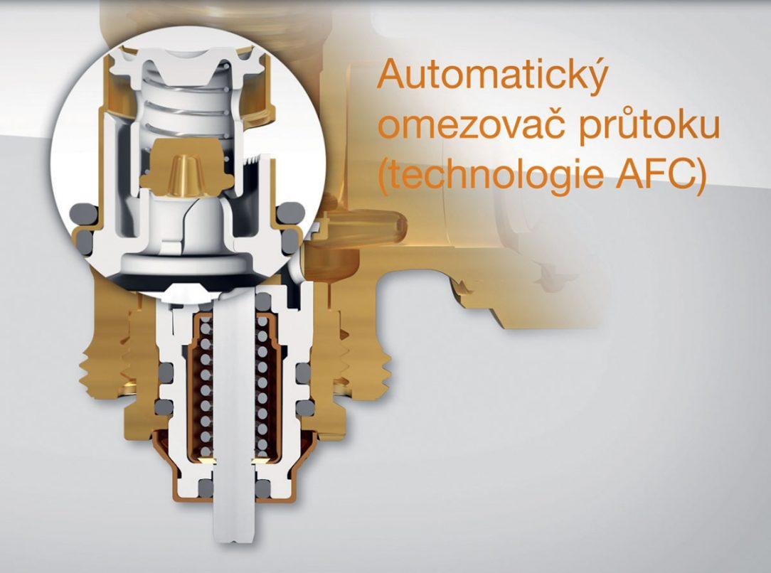 Obr. 2 Termostatický ventil sautomatickou regulací průtoku stechnologií AFC [1]