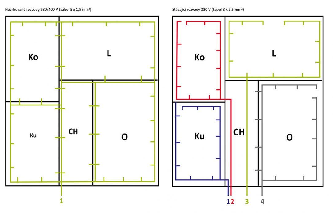 Obr. 3 Rozvody elektrické energie v běžném bytě 2 1