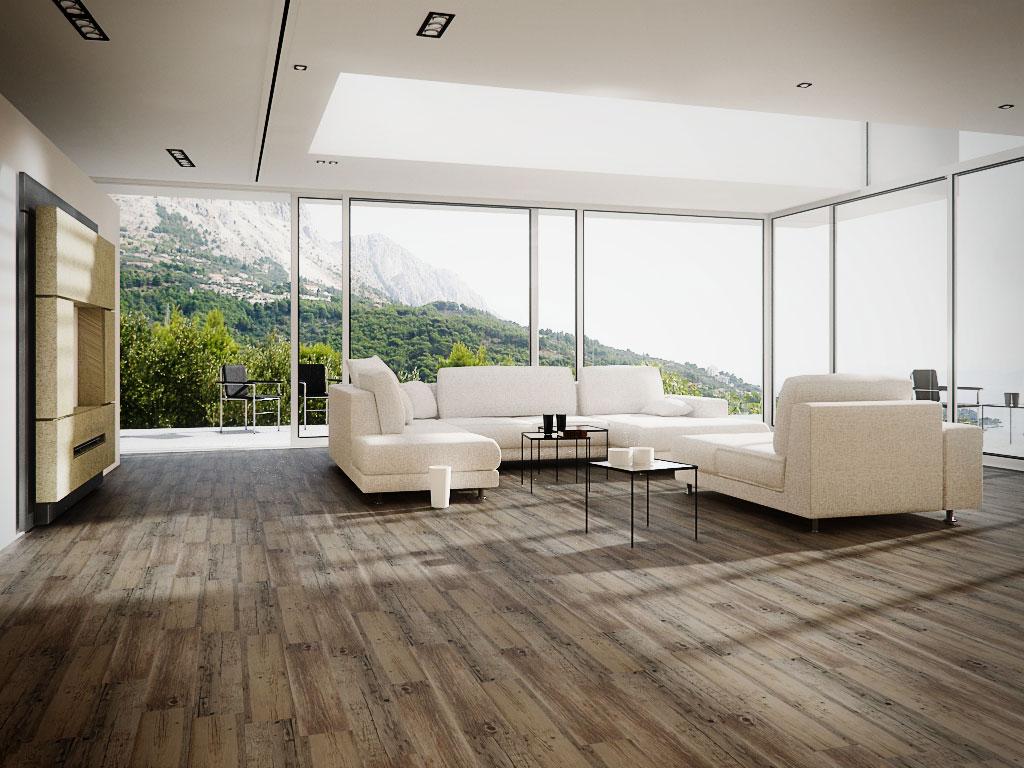 Ukázka vinylové podlahy Fatra Thermofix v obývacím pokoji