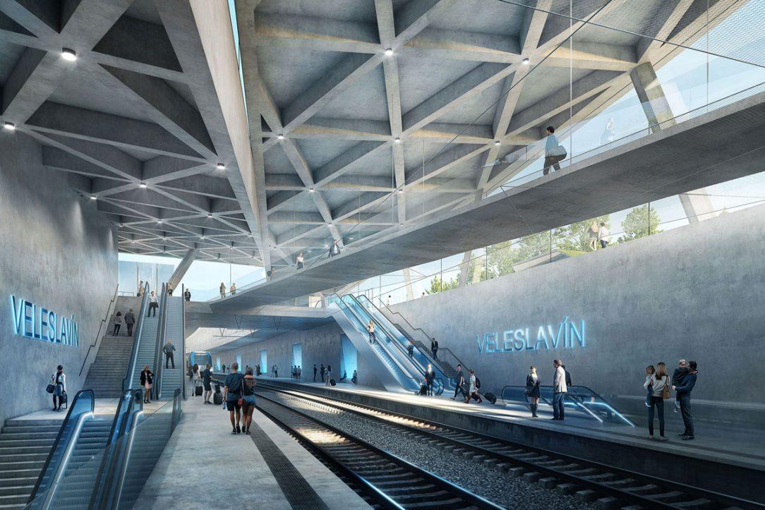 Vnitřní prostor budovy je na první pohled přehledný a cestující přirozeně naviguje. Střecha