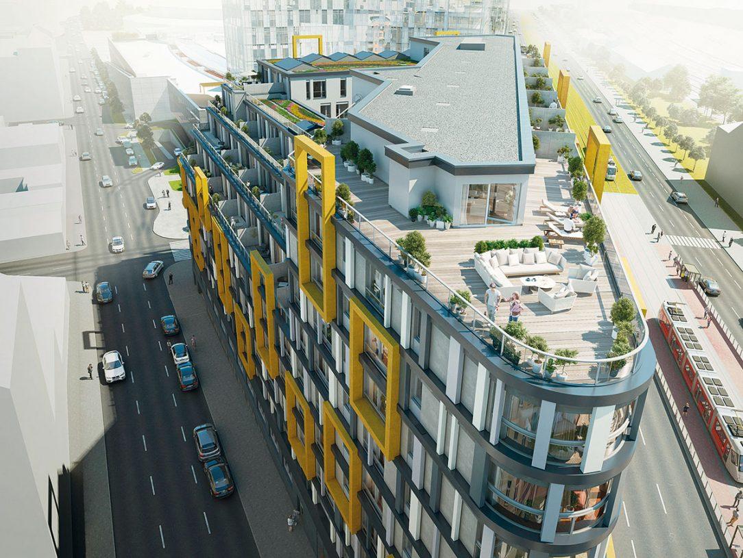 Nejvyšší prémiové byty mají terasy vysoko nad ruchem ulice.