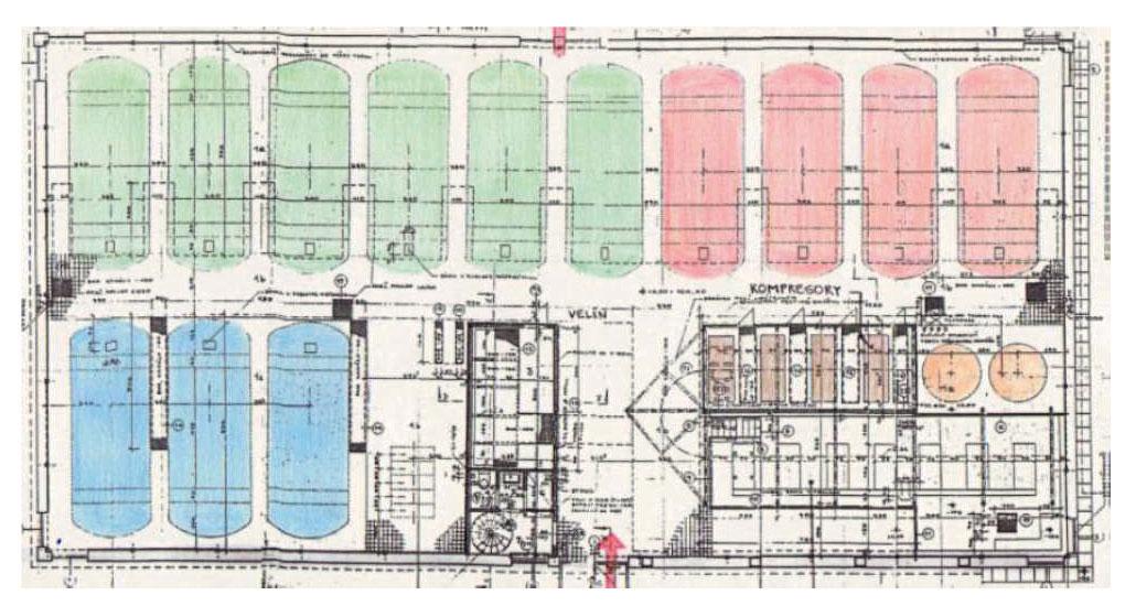 Obr. 1 Půdorys akumulační stance SLKP a. s.