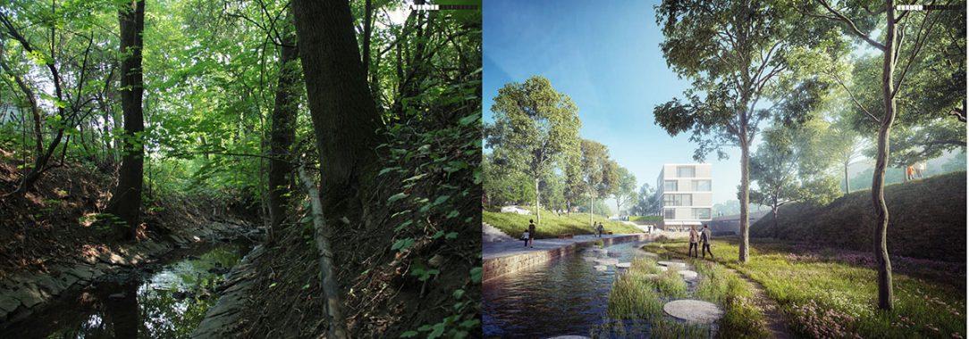 Pod úrovní plzeňské by se z nevzhledné strouhy měl stát příjemný kus městské přírody.