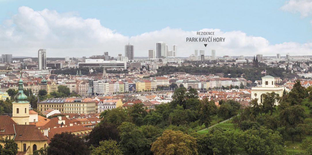 Pohled z rampy Pražského hradu na připravovaný projekt Park Kavčí Hory na Pankráci