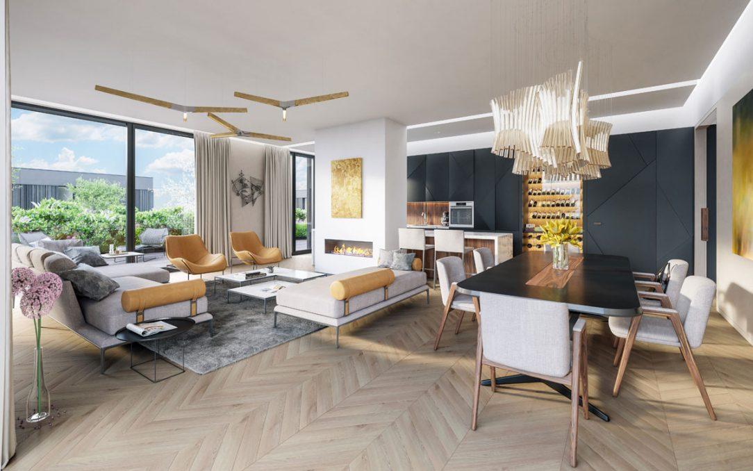 Samozřejmostí je vysoký standard vybavení do kterého patří například velkoformátová hliníková okna dřevěné podlahy velkoformátové obklady a dlažby..