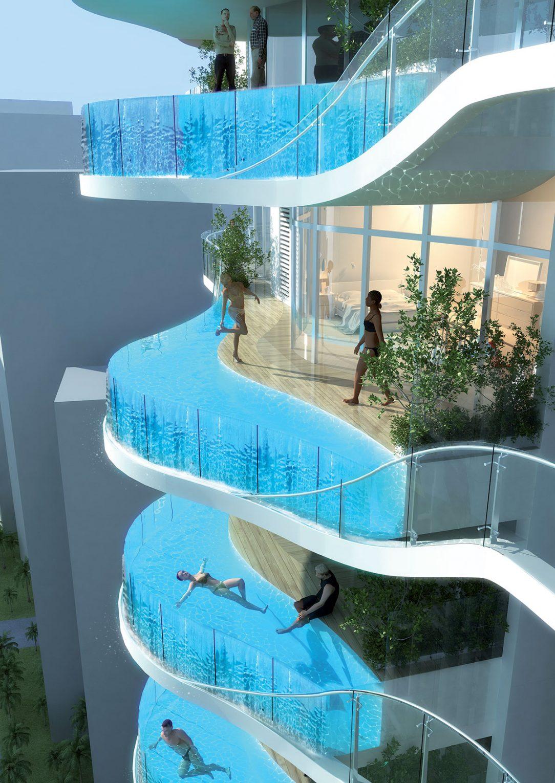 Nová budova z architektonické kanceláře James Law Cybertecture International nese název Bandra Ohm. Koncept a životní styl, který vyjadřuje, lze vpravdě popsat coby senzační pohled na hlavní město Bombaj, při kterém se vznášíte sto metrů nad světem ve vlastním plaveckém bazénu.