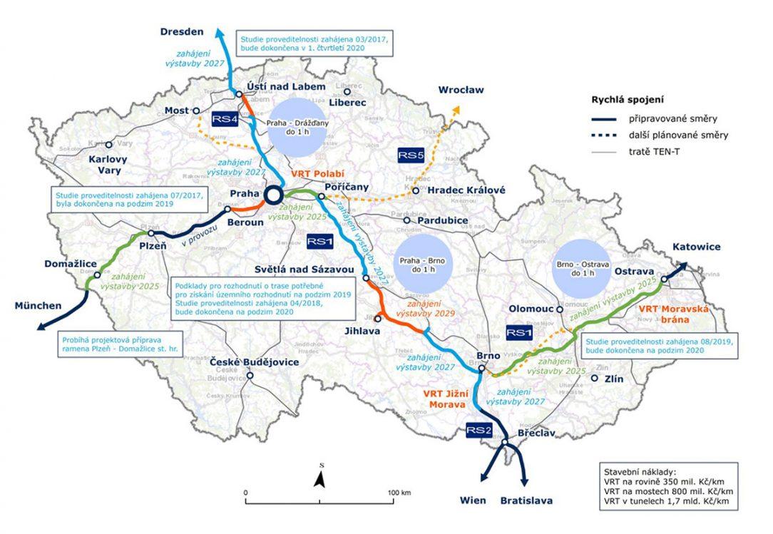 Sledované a připravované trasy rychlých spojení