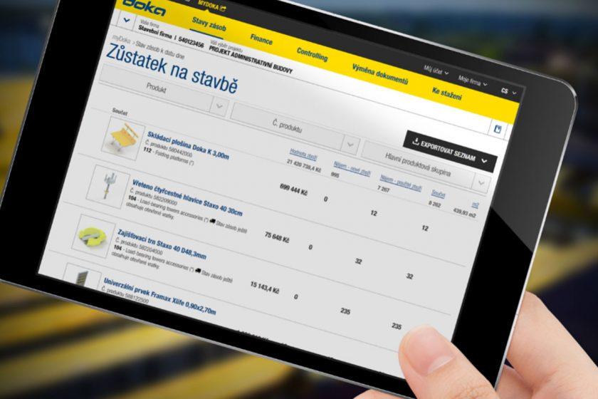 Nástroje v rámci zákaznického portálu myDoka umožňují online správu vašeho staveniště.