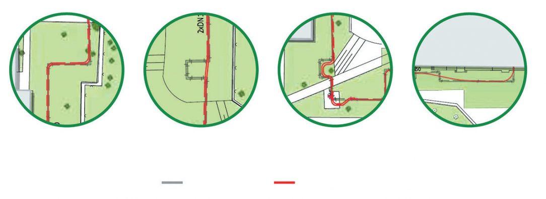 Obr. 3 Výhody hybridního systému: a) ohyby bez kolena, b) vynechání kompenzátoru, c) obcházení překážky, d) plynulý přechod do budovy
