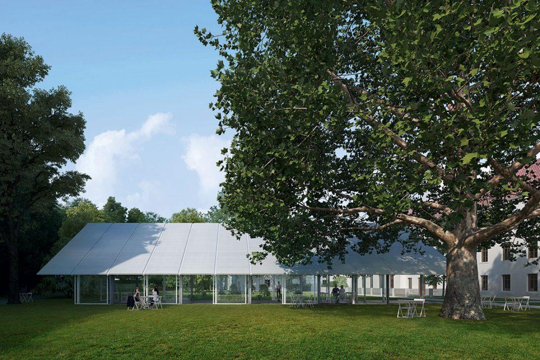 Pultová střecha vytváří v zadní části zahrady intimnější zákoutí.