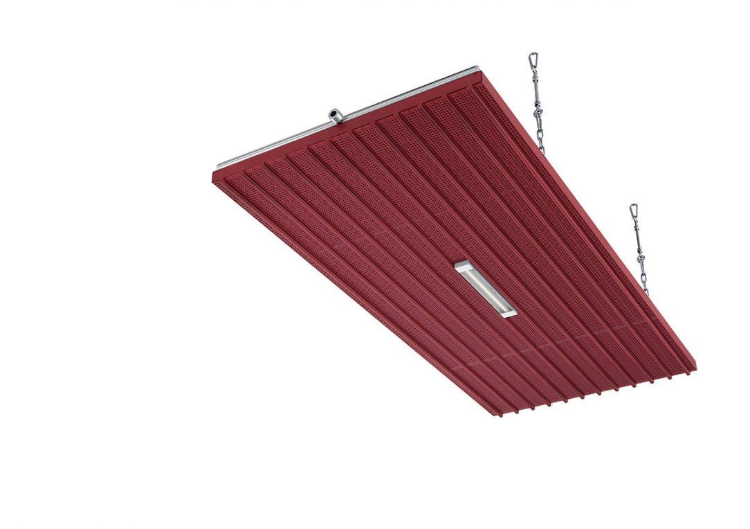 Příklad modulárního systému panelů v prodejním nebo výstavním prostoru. Zvýšené neviditelné koncové kusy a krycí plechy spojů panelů přispívají k elegantnímu vzhledu interiéru. O dobré nasvícení interiéru se postarají dekorativní LED svítidla integrovaná ve stropních panelech. Jejich počet se individuálně zkalkuluje pro optimální nasvícení daného prostoru. Panely lze na přání dodat ve více než 700 barvách a harmonicky sladit s interiérem.