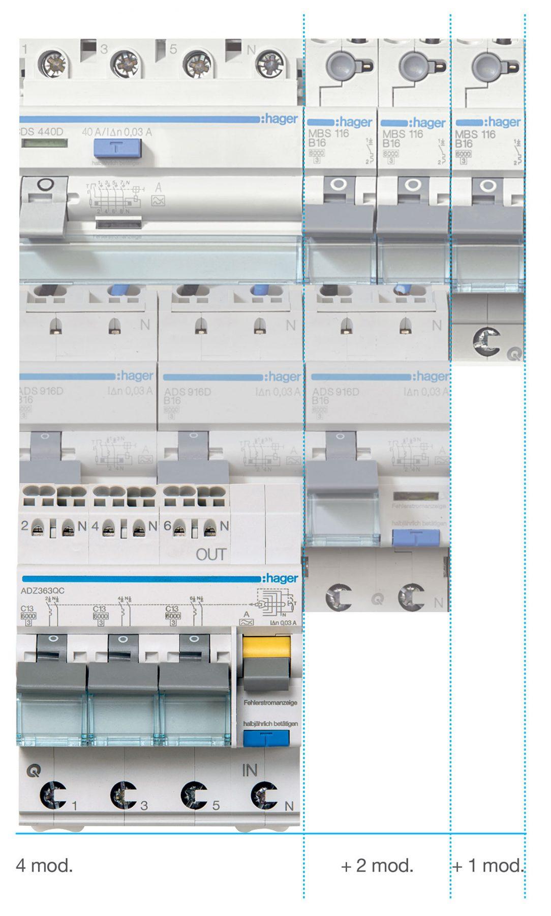 RCBO3 kombinovaný proudový chránič s jističi – 3 x 1P+N od společnosti Hager