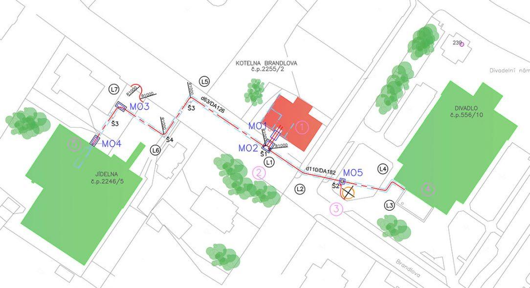Kladečský plán a vyznačení montážních otvorů při vtahovaní potrubí do existujícího technického kanálu v Chebu